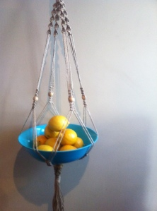 macrame blue bowl with lemons