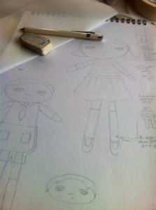 doll making 2 sketching