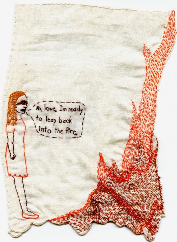 Love Fire embroidery by Iviva Olenick